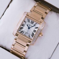 Cartier Tank Francaise diamond swiss mens watch replica 18K pink gold