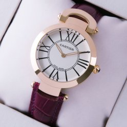 Ronde Solo de Cartier replica watch for women pink gold silver dial purple leather strap