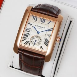 Cartier Tank MC automatic mens watch W5330001 pink gold silver dial brown leather strap