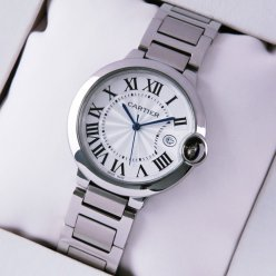 Ballon Bleu de Cartier medium quartz watch replica date stainless steel