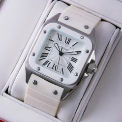 Cartier Santos 100 midsize watch replica stainless steel white rubber strap