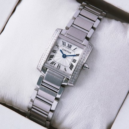 Cartier Tank Francaise 18K white gold swiss womens watch with two rows diamonds bezel