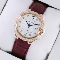 Ballon Bleu de Cartier medium swiss watch diamond 18kt pink gold brown leather strap