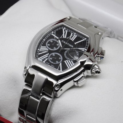 Cartier Roadster Chronograph steel black dial imitation watch for men