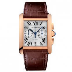 Cartier Tank MC Chronograph mens watch W5330005 pink gold silver dial brown leather strap