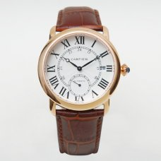 Cartier Ronde Louis automatic replica watch for men 18K pink gold brown leather strap