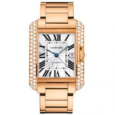 Cartier Tank Anglaise extra large diamond bezel 18K pink gold mens watch WT100004