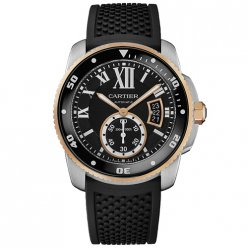 Calibre de Cartier Diver replica watch W7100055 pink gold and steel black rubber strap