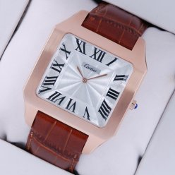 Cartier Santos Dumont large watch replica 18K pink gold brown leather strap