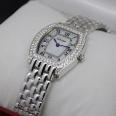Cartier Tortue small diamond watch for women steel white mother of pearl dial