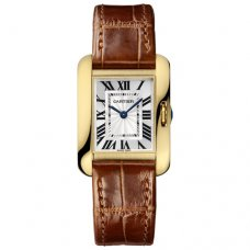 Cartier Tank Anglaise small watch for women W5310028 18K yellow gold brown leather strap