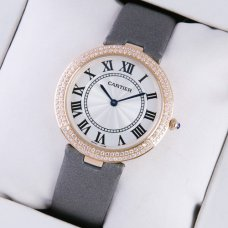 Ronde Solo de Cartier diamond watch for women pink gold grey stain strap