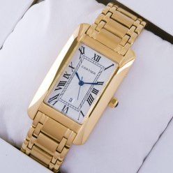 Cartier Tank Americaine 18K yellow gold replica watch for men