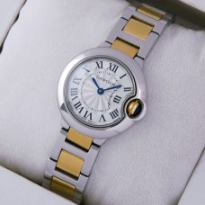 Ballon Bleu de Cartier small quartz watch replica two-tone 18kt yellow gold and steel
