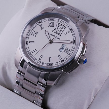 Calibre de Cartier quartz replica watch for men stainless steel white dial