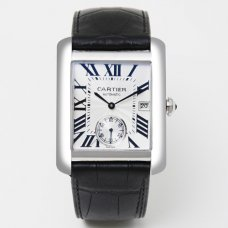 Cartier Tank MC automatic mens watch W5330003 steel silver dial black leather strap