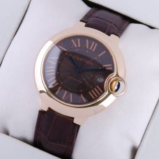 Ballon Bleu de Cartier large watch black dial 18K pink gold brown leather strap