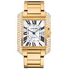 Cartier Tank Anglaise extra large diamond bezel 18K yellow gold mens watch WT100007