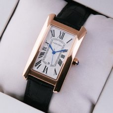 Cartier Tank Americaine mens watch replica 18K pink gold black leather strap
