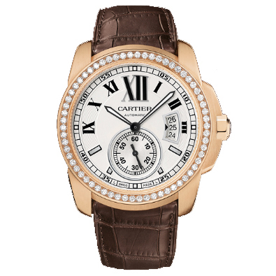 Calibre de Cartier automatic diamond watch WF100005 18K pink gold black leather strap
