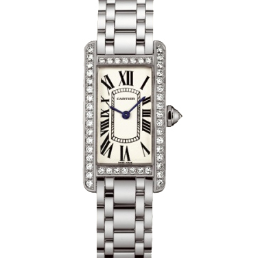 Cartier Tank Americaine diamond small 18K white gold watch for women WB7073L1