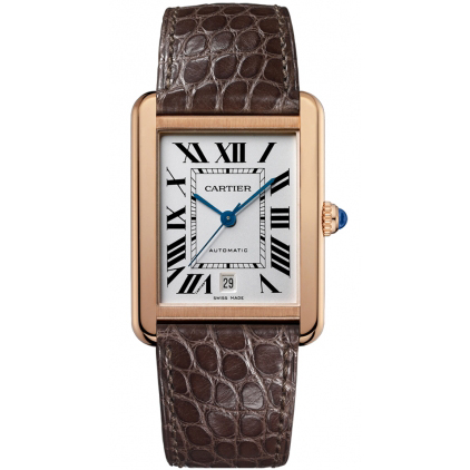 Cartier Tank Solo extra large mens watch W5200026 18K pink gold brown leather strap