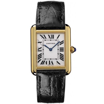 Cartier Tank Solo small ladies watch W5200002 18K yellow gold black leather strap