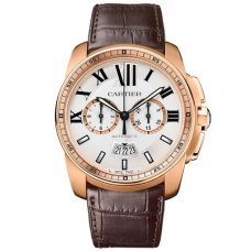 Calibre de Cartier Montre chronographe imitation W7100044 bracelet brun en cuir or rose