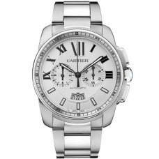 Calibre de Cartier Chronographe montre imitation acier inoxydable W7100045