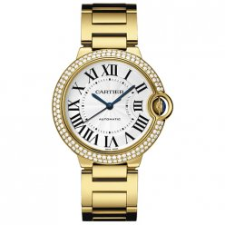 Ballon Bleu de Cartier moyen montre automatique suisse jaune 18 kt or diamants lunette