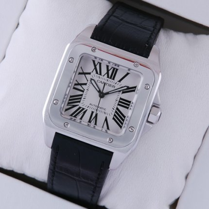 Cartier Santos 100 midsize suisse montre automatique en acier inoxydable bracelet en alligator noir