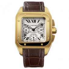 Cartier Santos 100 XL Chronographe automatique suisse hommes montre W20096Y1 Or jaune