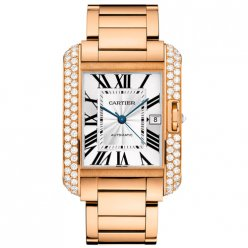 Cartier Tank Anglaise très grand lunette sertie de diamants Or rose 18 carats hommes montre WT100004