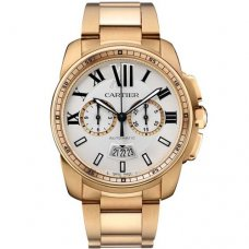 Calibre de Cartier Chronographe imitation montres W7100047 18K or rose