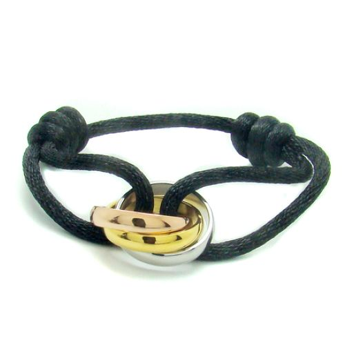 77ade7f57610d9 Trinity de Cartier 3-gold bracelet B6016700 black cotton cord for men and  women