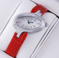 Delices de Cartier diamond steel womens watch white mother of pearl dial leather strap