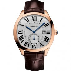 Drive de Cartier watch pink gold brown leather strap WGNM0003