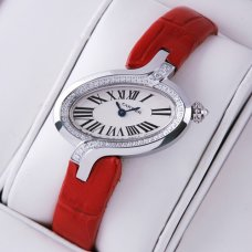 Delices de Cartier diamond replica watch for women stainless steel leather strap